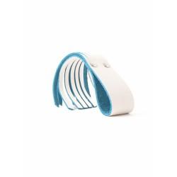 Mini látigo piel BS Atelier OCTOPUSSY blanco y azul