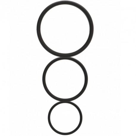 Set de 3 anillos silicona Shots Toys Negro