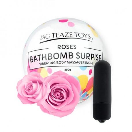 Bomba de baño + mni vibrador ROSAS