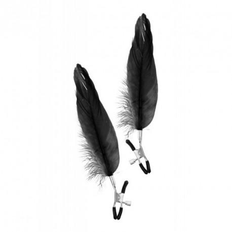 Pinzas pezones con pluma larga NEGRA