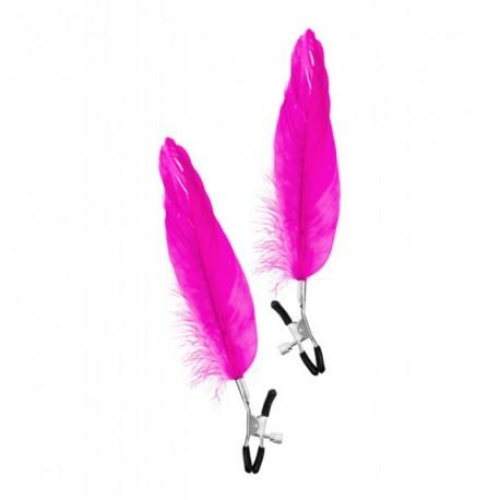 Pinzas pezones con pluma larga ROSA