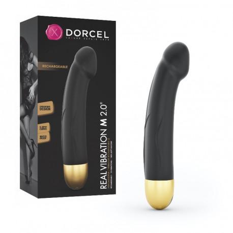 Vibrador recargable REAL VIBRATION 2.0 M (22cm) negro/dorado