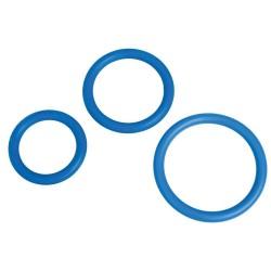 Set 3 anillos pene silicona AZUL