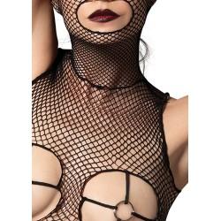 Body liguero abierto en pecho con capucha y esposas
