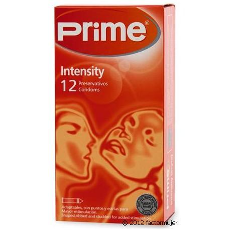 Preservativos Prime finos estriados - INTENSITY (12)