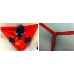 Tanga hombre pollito (rojo/negro)