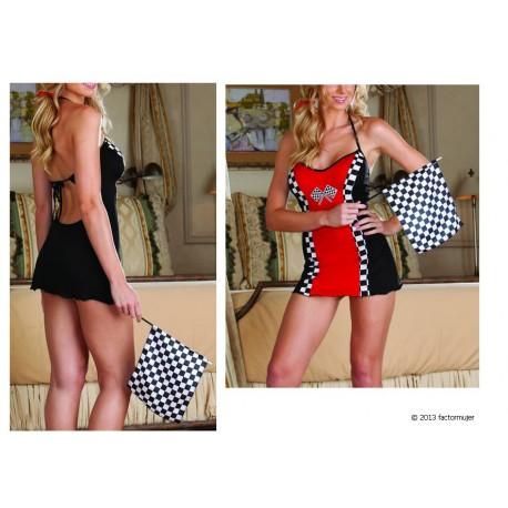 7390 - Disfraz chica de carreras + bandera