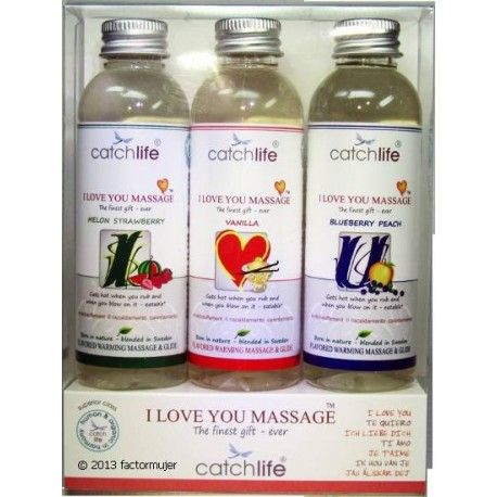 Pack gel I Love You (3x75ml) - vainilla, fresa, melocotón