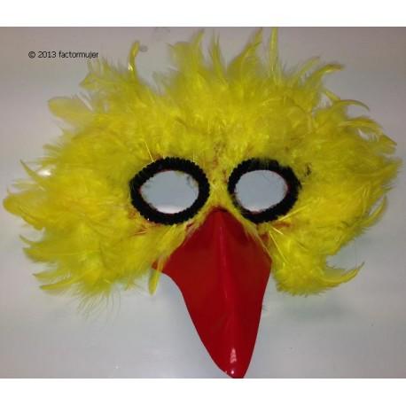 Máscara nariz roja de plumas amarillas