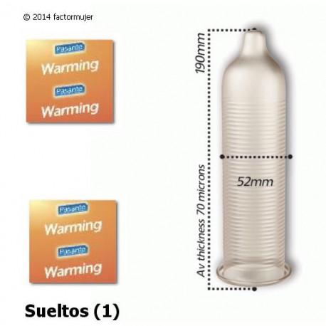 Condón Pasante calor y estriado - Warming (1)