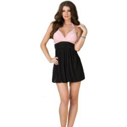 Vestido negro/rosa 6359 - M