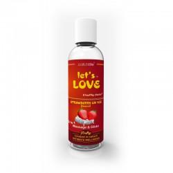 Gel 2 en 1 masaje y lubricante Lets Love - Fresa helada (100ml)