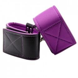 Esposas reversibles - cuero (negro) + neopreno (lila)
