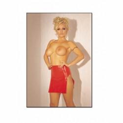 Minifalda de látex rojo
