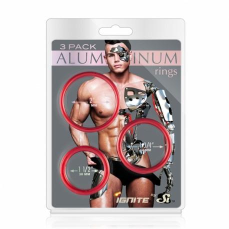 Set 3 anillos de aluminio rojo