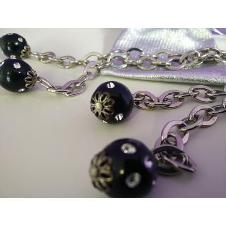 Agarrador lencería - Perlas negras