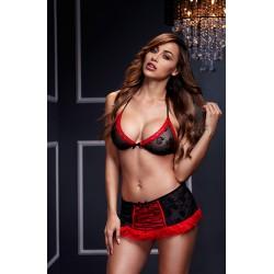 3115 - Conjunto falda + sujetador negro/rojo