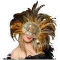 Máscara Veneciana de plumas doradas largas