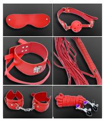 Set bondage de 7 piezas variado en color rojo