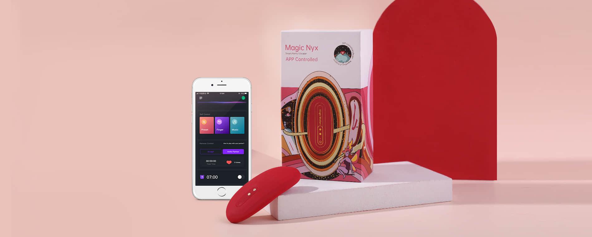 Magic NYX Magic Motion, panty vibrador reloj despertador y larga distancia bluetooth / APP