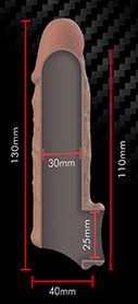Medidas funda v7 anilla Marrón virilXL extension silicona liquida