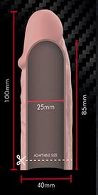 Medidas funda v3 virilXL extension silicona liquida