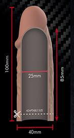 Medidas funda v3 Marrón virilXL extension silicona liquida